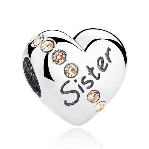 Sister Love Heart Charm, 925 Silver, CZ