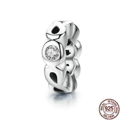 Infinity Love Spacer Charm, 925 Silver, CZ