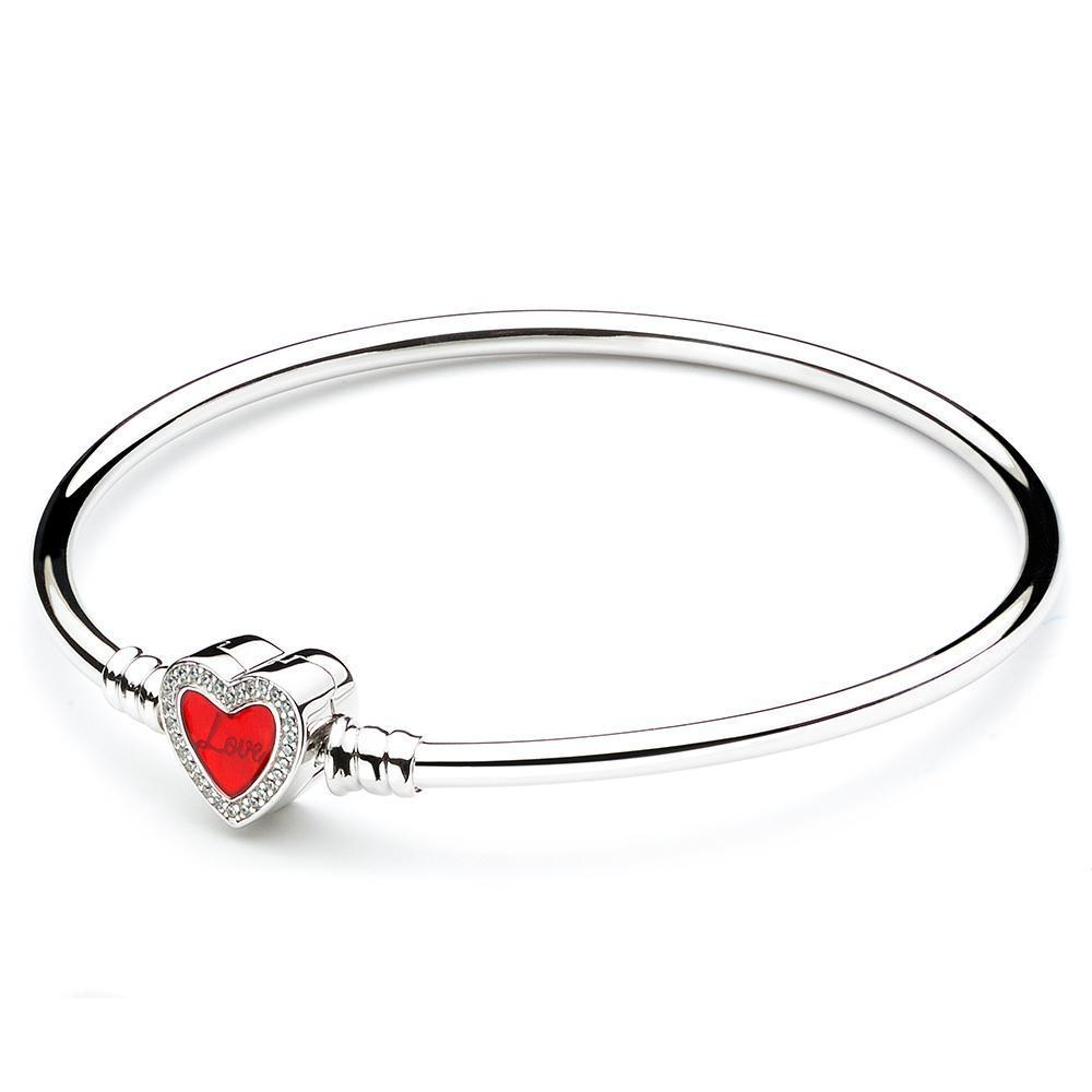 ATHENAIE Bangle Heart Clasp Charm Bracelet, Forever engraved with CZ, 925 Silver