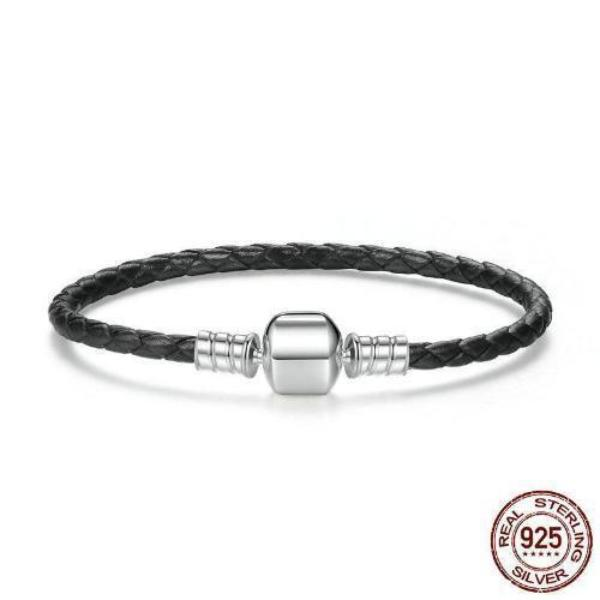 SINGLE BRAIDED LEATHER with 925 Sterling Silver Clasp BRACELET - BLACK
