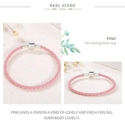 SINGLE BRAIDED LEATHER with 925 Sterling Silver Clasp BRACELET - PINK