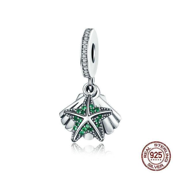 Tropical Starfish & Sea Shell Dangle Charm, 925 Silver