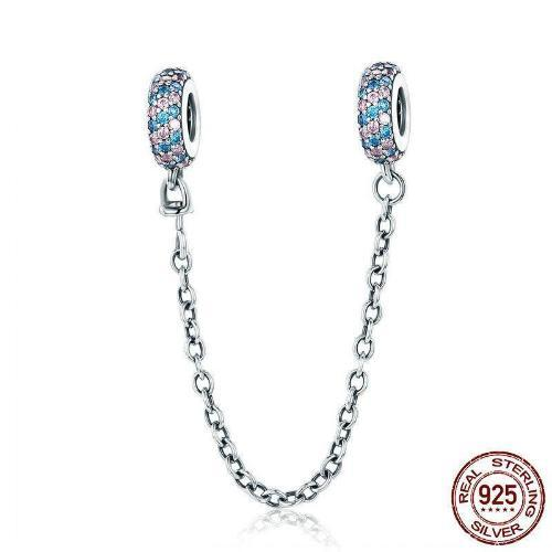 Pave Inspiration Safety Chain, 925 Sterling Silver, Pink & Blue CZ