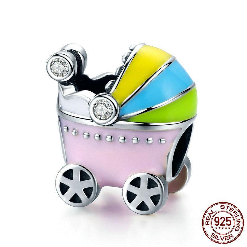 Baby Carriage with Colorful Enamel Charm, 925 Silver, CZ