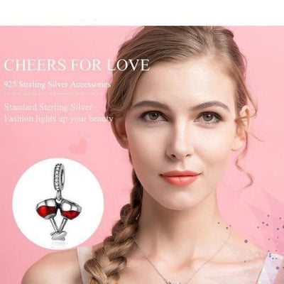 Wine Cheers Dangle Charm, 925 Silver with Red Enamel