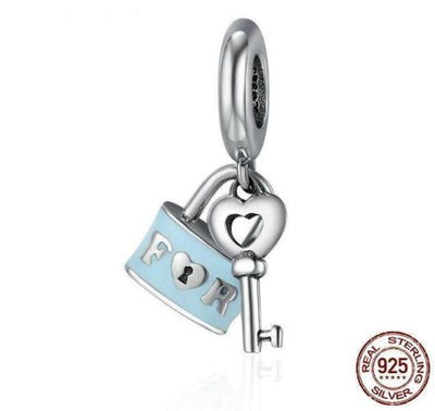 Forever Lock & Love Key Charm, 925 Silver with Blue Enamel