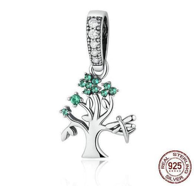 Tree of Dream Dangle Charm, 925 Silver, CZ