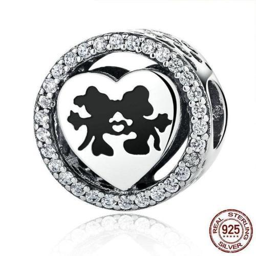 Mickey & Mini Mouse Love Charm, 925 Silver, Black Enamel, CZ