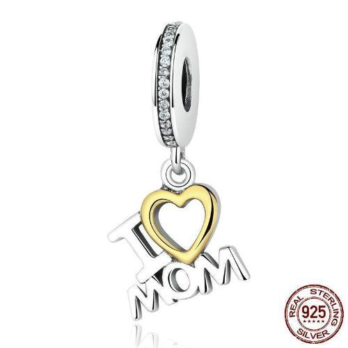 'I LOVE MOM' Dangle Charm, 925 Silver, Clear CZ