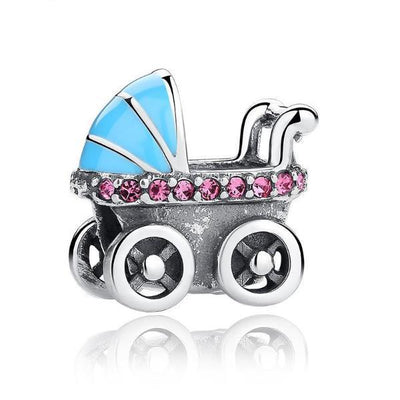 Baby Carriage Charm, 925 Silver, Purple CZ, Baby Blue Enamel