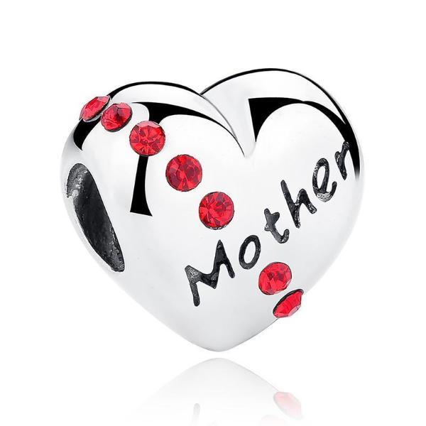Mother Heart Shape Charm, 925 Silver