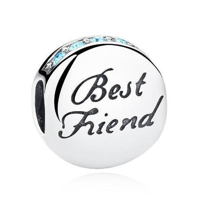 Best Friend Charm, 925 Silver with Blue CZ