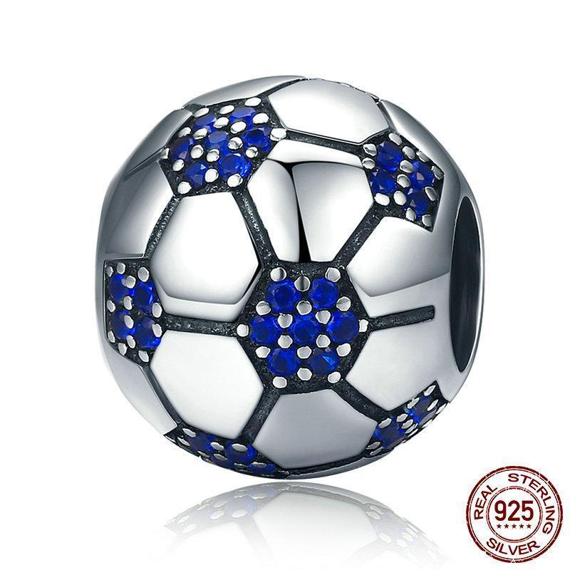 Soccer Ball Bead Charm, 925 Silver with Blue CZ