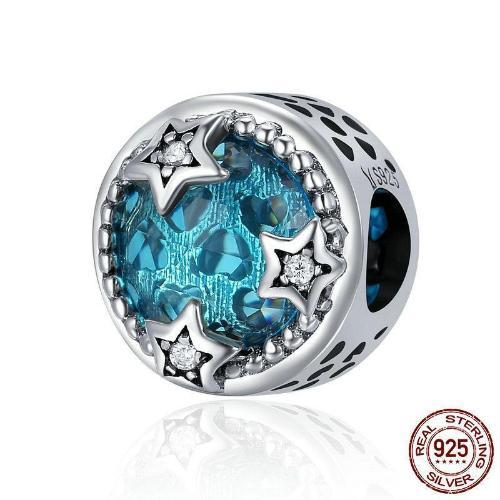Fantasy Hexagram Blue Crystal Bead Charm, 925 Silver