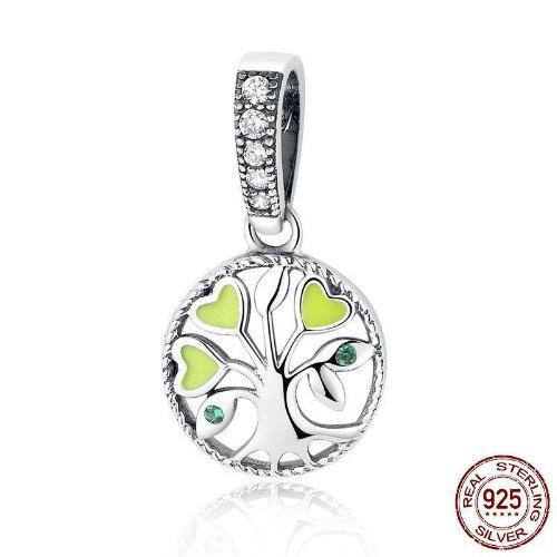 Tree of Life Dangle Charm, 925 Silver, CZ