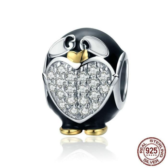 Adorable Penguin, Clear CZ Charm, 925 Silver, Black Enamel, CZ