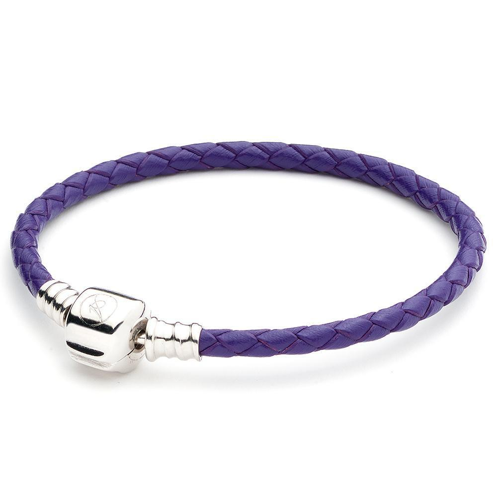 ATHENAIE, SINGLE BRAIDED LEATHER, 925 Sterling Silver Clasp BRACELET - Royal PURPLE