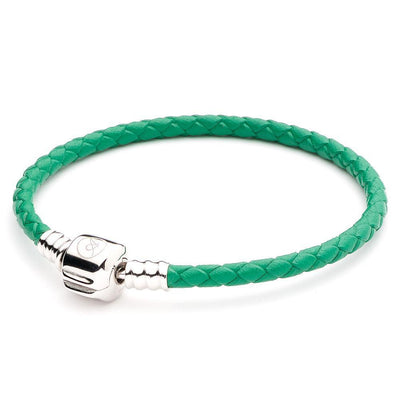 ATHENAIE, SINGLE BRAIDED LEATHER, 925 Sterling Silver Clasp BRACELET - GREEN