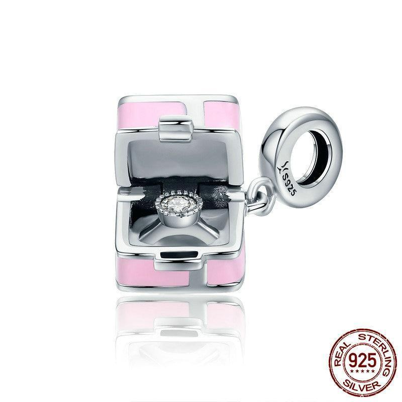Marry Me Surprise Proposal Charm, 925 Silver, CZ