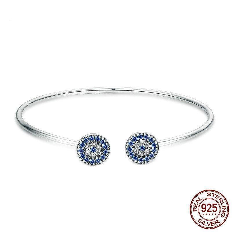 Lucky Blue Eyes Blue CZ Open Cuff Bangle Bracelet, 925 Silver