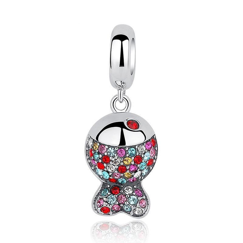 Colorful Fish Dangle Charm, 925 Silver, CZ