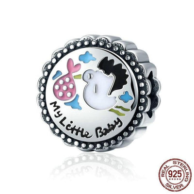 My Little Baby, Stork Charm, 925 Silver with colorful Enamel