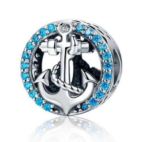 Crystal Anchor Bead Charm, Blue or Black CZ, 925 Silver