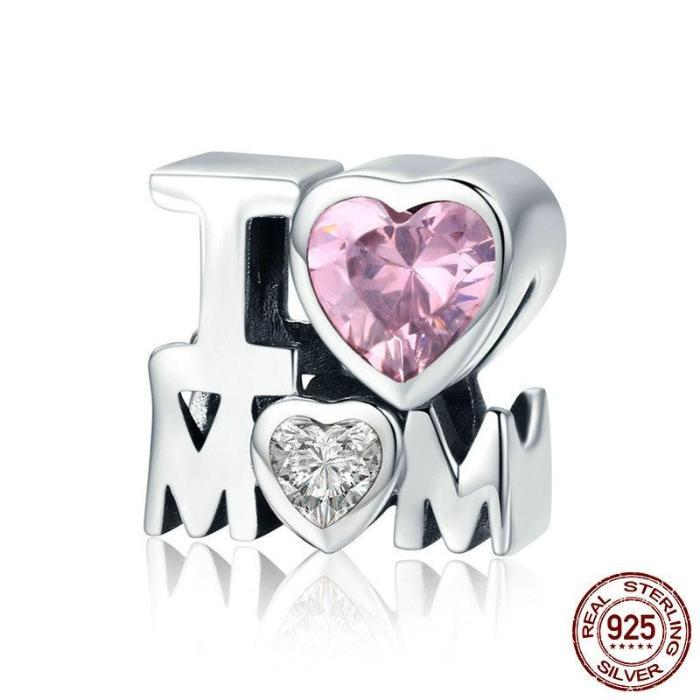 I LOVE MOM Charm, 925 Silver, Pink and White CZ