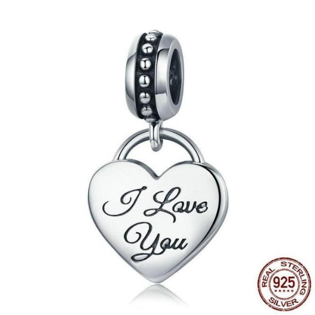 I Love You Heart Dangle Charm, 925 Silver, Black Enamel