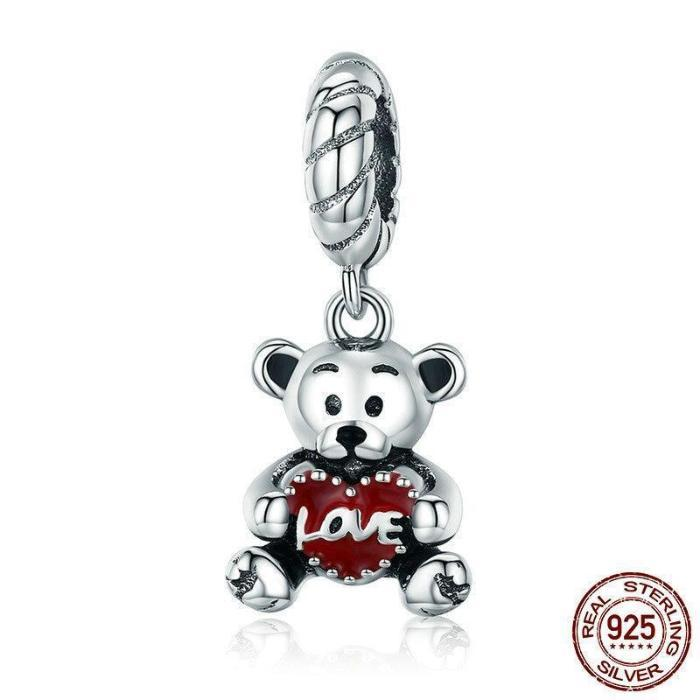 Little Bear with Love Hug Charm, 925 Silver, Red Enamel