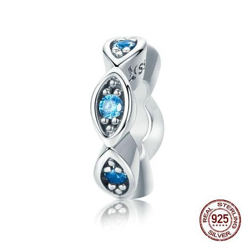 Lucky Blue Eye Glittering Spacer Charm, 925 Silver, with CZ