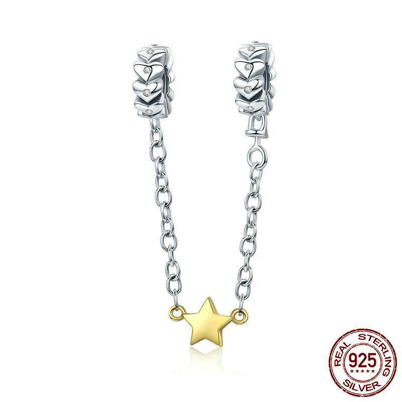Love Forever & Gold Star Silicon Safety Chain,, 925 Silver, CZ
