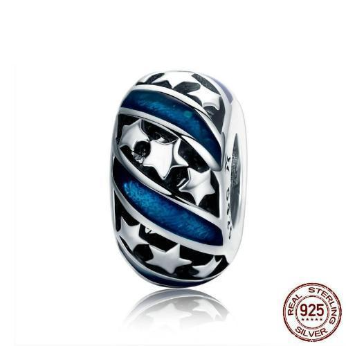 Bright Galaxy Stars Spacer Charm, 925 Silver, Blue Enamel
