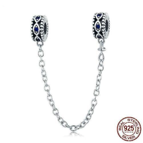 Evil Eyes Silicone Safety Chain, 925 Silver, CZ
