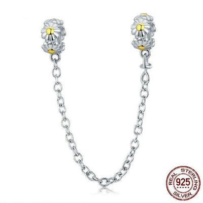 Daisy Silicone Safety Chain Charm, 925 Silver, Yellow CZ
