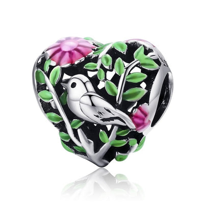 Bird in the Woods Charm, 925 Silver, Enamel