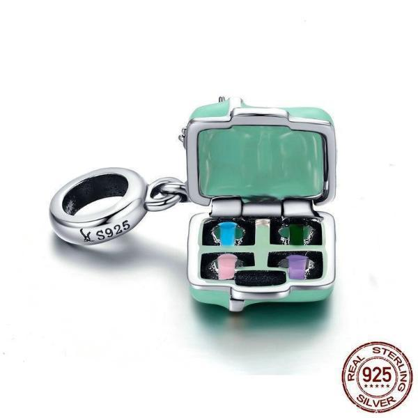 Macaron Candy Box Dangle Charm, 925 Silver with CZ and Green Enamel
