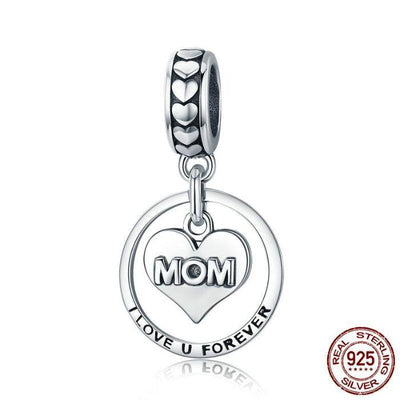 'I Love You Forever' engraved, MOM Charm, 925 Silver