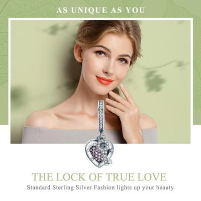 Key Lock of Love Dangle Charm, 925 Silver, CZ