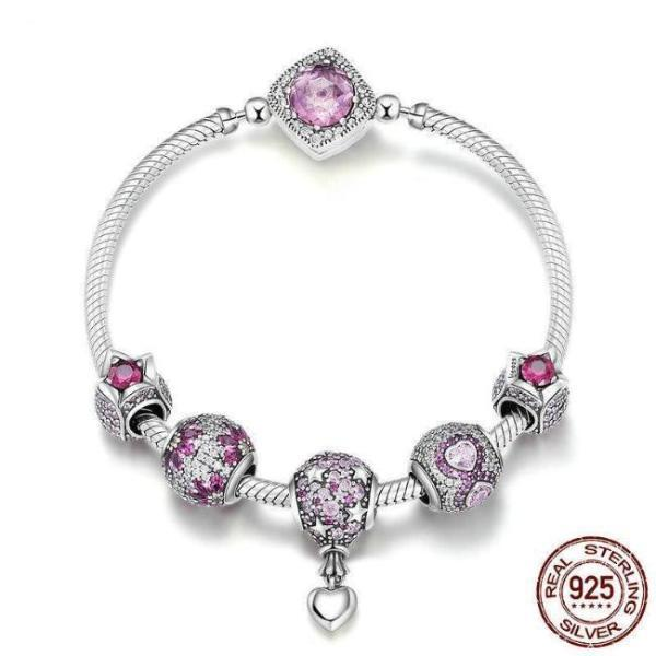 Dazzling Pink AAA CZ, Stars and Hearts Theme Bracelet, 925 Silver