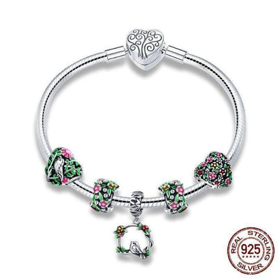 Spring Flowers, Leaves & Bird Charm  925 Silver, Enamel