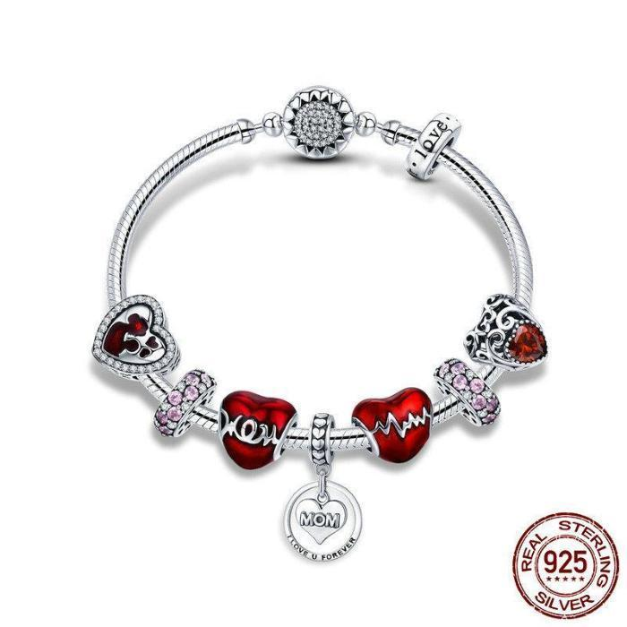Mother's Love Heart theme, Charm Bracelet, 925 Silver, CZ