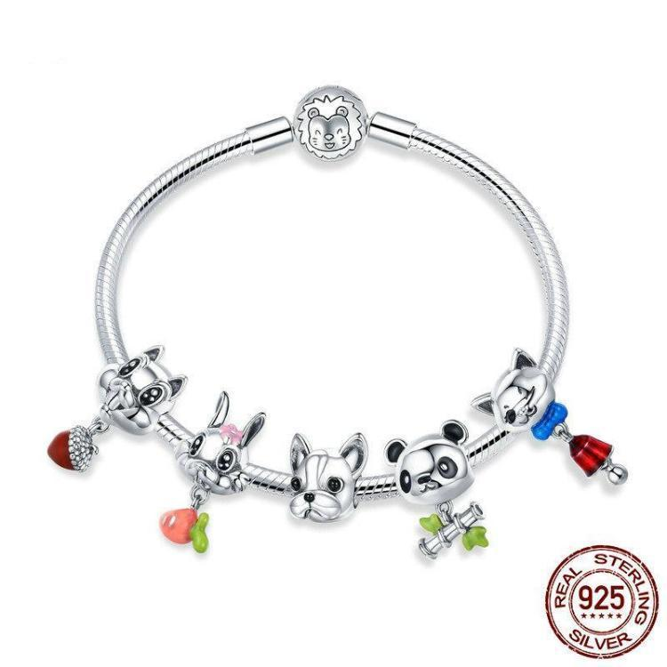 Lovely Animal theme snake chain Charm Bracelet, 925 Silver, Enamel