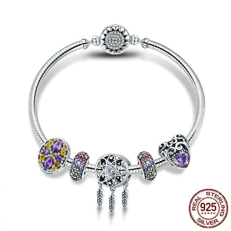 Dream Catcher theme, Bangle Charm Bracelet Bangle, 925 Silver, CZ