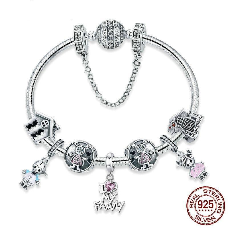 I Love My Family Sweet Home bracelet, 925 Silver, CZ