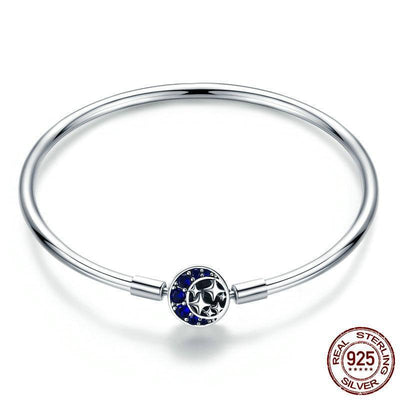 Moon & Stars Blue Sky Bangle Bracelet, 925 Silver, CZ
