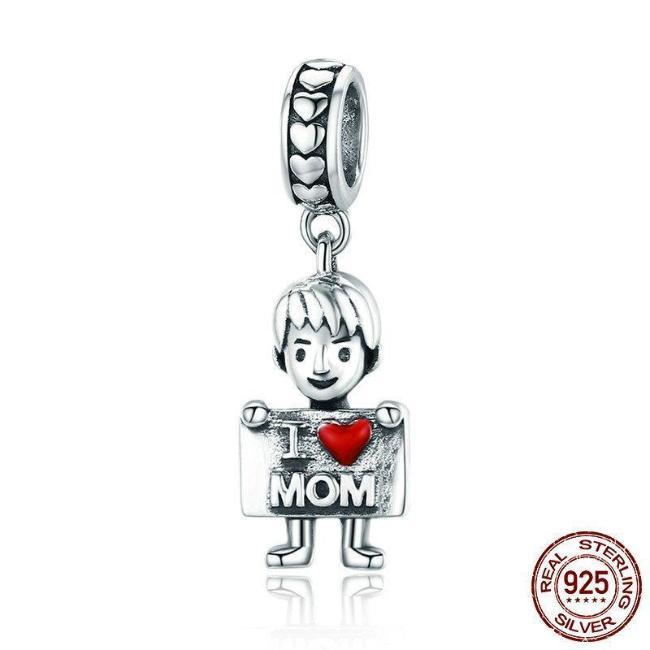 I Love Mom, Son Dangle Charm, 925 Silver, Enamel