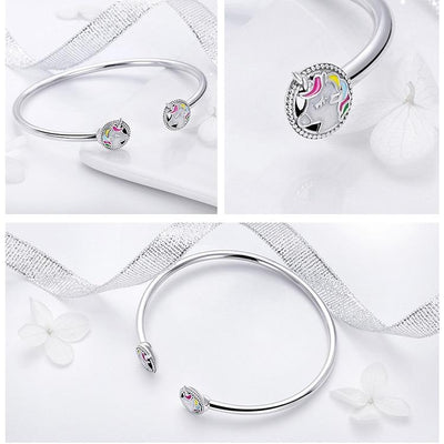 Unicorn Open Bangle Bracelet, 925 Silver, Enamel