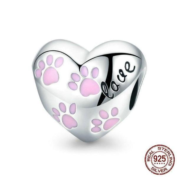 Pet Foot Prints, 'Love', 925 Silver w/ Pink Enamel