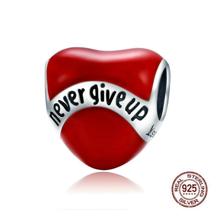 Never Give Up Heart Charm, 925 Silver, Enamel